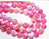 "20% OFF 7"" Gemstone STRAND - Agate Beads - 14mm Faceted Rounds - Bubble Gum Pink, White, Clear (7"" strand ~13 beads) - str1194"