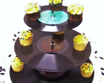 Retro Record Dessert 3 Tier Pedestal Cake Cupcake Stand Recycle Rockabilly Wedding Birthday Lets Rock N Roll