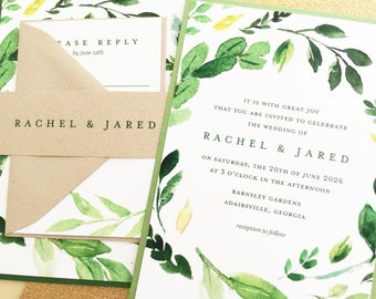 Green Wedding Invitation, Greenery Wedding Invite, Laurels, Leaves, Wreath | PRINTED SAMPLE