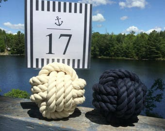 13 Navy Blue, Cream or Both -  Rope Number Holders -  3.75 inch  - Nautical Wedding Rope Table Number Holders  - Beach Wedding Decor