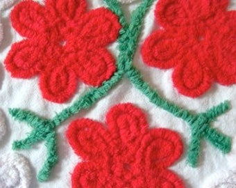 Stunning Vivid Red Floral Plush Heart of Vintage Cotton Chenille Fabric 15 X 21 Inches