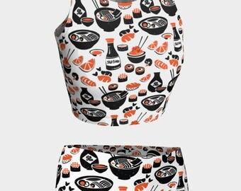 Sushi Lover - Swimwear Combo Crop Top + Mini Shorts - From XL to XS