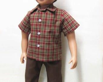 "Cranberry Plaid Shirt with Brown Slacks for 23"" MyTwinn Boy Doll"