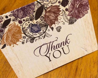 Floral Fall Autumn Thank You Cards - set of 20 for Karen