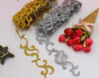 6 Yards/Lot Embroidered Braid Lace Iron On Applique Ribbon Lace Trims Cos Costume Decoration 4cm Wide