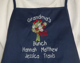 Personalized Grandma Apron with Embroidered Grandma's Bunch Design