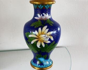 Vintage Cloisonne Oriental Vase Floral Decorative Flower Vase Yellow Mum Blue Green 1970s