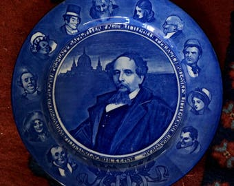 Vintage Royal Doulton Charles Dickens Historical Flow Blue Plate Blue White Collectible