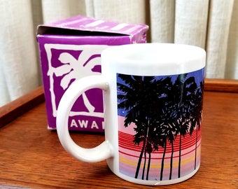 Vintage Mug Hawaiian Souvenir Coffee Cup Palm Trees Pink Purple