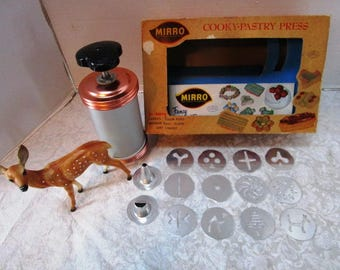 Vintage Mirro Cookie / Pastry Press, Complete Set, Original Box, Recipe Book, 12 Cookie Plates, 2 Pastry Tips, Christmas Tradition Tea Party
