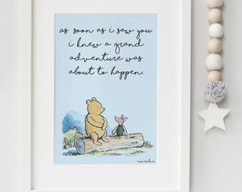 Classic Winnie The Pooh PRINTABLE, As soon as I saw you I knew a grand adventure was about to happen, Kids Wall Art, Boys Nursery Decor Blue