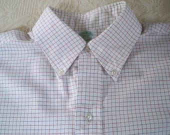 Vintage Men's Clothing Long Sleeve Shirt Check Button Down Collar Brooks Brothers Size 15.5 - 5