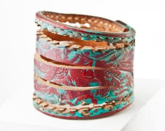 Coral Turquoise Cuff Bracelet - Red Turquoise Teal Jewelry