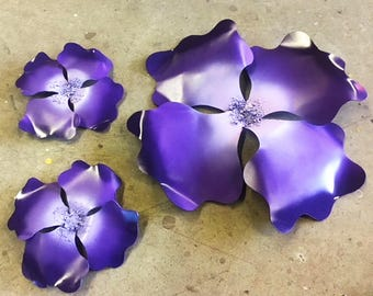 Giant Wall Hanging Pansy set of three flowers