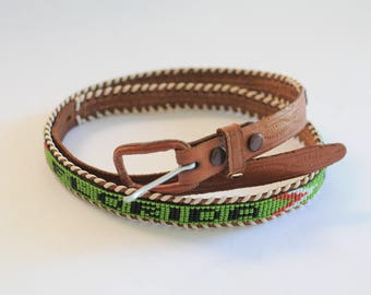 Vintage Belt Native American Beaded Leather Florida Canoe Bow Arrow Womens Cowgirl Horse Riding Ladies Kids Girls