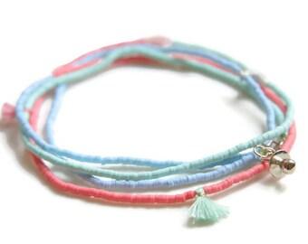 Tassel wrap bracelet, tassel necklace, aqua coral mint bracelet, boho chic jewelry, Bohemian Jewelry