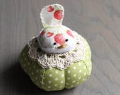 Red and Green Bird Pincushion Strawberries Bird Pin Cushion Rustic Pin Cushion Polka Dots