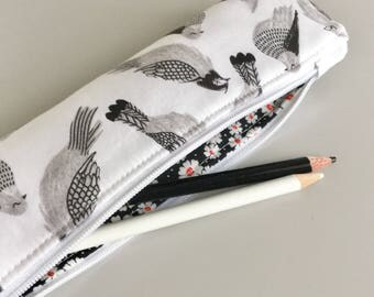 Back to School Black and White Skinny Pencil Case Pencil Pouch Cute Pencil Case