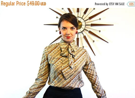 SALE 50% OFF Vintage 60s Pussybow Blouse Brown Tan Stripe Secretary Ladies Long Sleeve Ascot Pussy Bow Tie Big Butterfly Collar Shirt 1960s