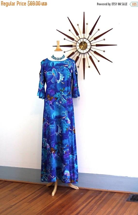 SALE 50% OFF Vintage 60s Pake Mu'u Maxi Dress By TWO Potato Bright Blue Tropical Floral Print Open Ladder Sleeve Mu Mu Hawaiian Wedding 1960