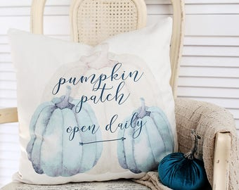 Pumpkin patch,seasonal,autumn,fall,holiday,pillow cover, typography,throw pillow,blue,decorative pillow