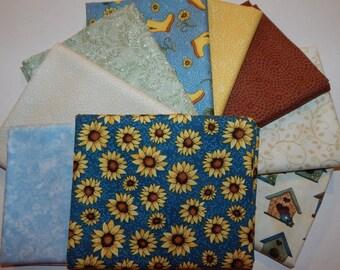 NEW Sunshine Garden Sunflower Quilt Fabric 100% Cotton Bundle C- 9  Coordinating Fat Quarters