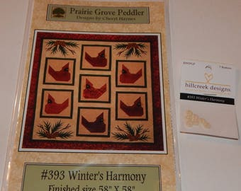 Winter's Harmony Quilt Pattern With Hillcreek Buttons Included and Free Shipping