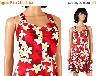 ON SALE Hawaiian Bombshell Dress XS S Vintage 80s does 50s Red Floral Pinup Girl Costume Free Us Shipping