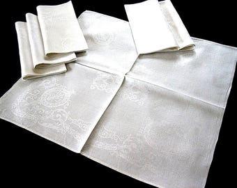 DAMASK Napkins for Tablecloth Replacement Set Vintage LARGE LINEN Crisp White Set 6