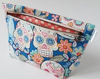 Springtime Calaveras Makeup Bag- Accessory Bag