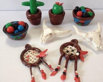 Dollhouse miniature polymer Southwestern Home Decor Skulls cactus bowls of balls Dream Catchers 8 pc. set 1:12