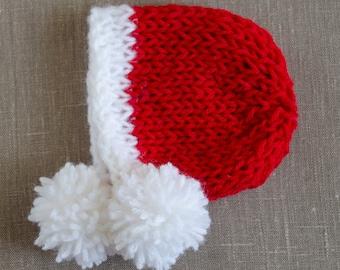 Newborn Christmas Hat, Newborn Christmas Prop, Newborn Santa Hat Knit, Newborn Santa Prop, Newborn Santa Photo Prop, Christmas Newborn Hat