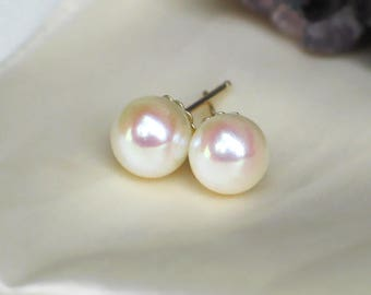 Ivory Pearl Studs | 7.5mm Japanese Akoya Saltwater Pearls | 14k Solid Yellow Gold Fluted Studs | Birthday | Classic Pearl | Ready to Ship
