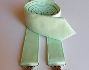 SALE Mint Necktie and Suspenders - Skinny or Standard Width - Men's, Teen, Youth         2 weeks before shipping