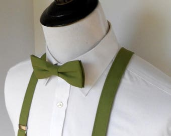 SALE Olive Green Bowtie and Suspenders Set -2 weeks before shipment