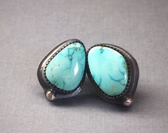 Lone Mountain Turquoise & Oxidized Sterling Silver Stud Earrings