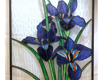 Stained Glass Iris Panel