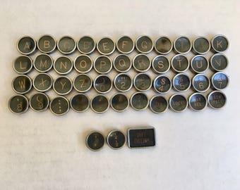 Set of 47 Antique Typewriter Keys Jewelry Supplies Royal Black Plastic Covers