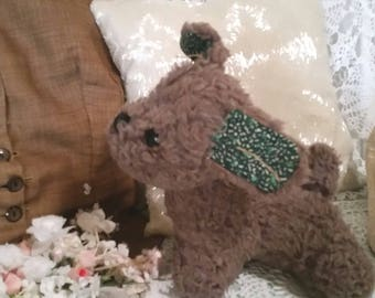 vintage dog toy, cute but sad,  vintage terrier dog, small terrier, green cloth ears, little red tongue