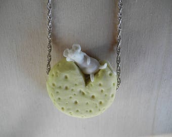 White mouse relaxing an a cheese - pendant on a sterling silver rope chain - necklace