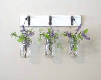 Rustic Wood Shelf...Farmhouse Wall Decor...3 Hanging Mason jars on distressed painted boards