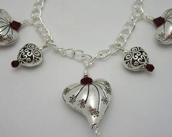 Silver Plated Puffed Heart Bracelet with Siam Swarovski Accents. Length 7.5 inches. Handmade, One of a Kind Jewelry. Patriotic Bracelet LOVE