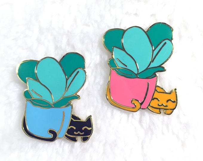 Featured listing image: Plant Kitty Hard Enamel Pin