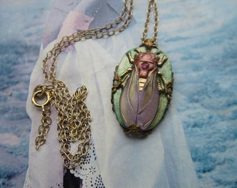 Elegant Glass Cicada Necklace Of Mint Green Lavender Rose And Gold
