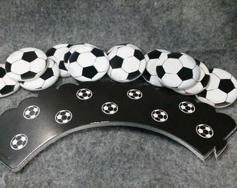 24 piece soccer theme cupcake topper and wrapper.  Double sided