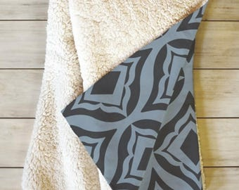 Blue Fleece Sherpa Throw Blanket // Home Decor // Geometric // Dorm Decor // Trevino Dusk Design // Modern Home // Cozy Blanket // Blue