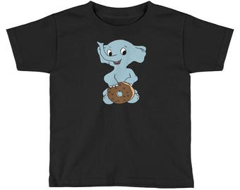 Adorable baby elephant with Donut Kids Short Sleeve T-Shirt