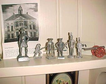 Lot Vintage Revolutionary Soldiers Pewter Continential & Brits/Cannon
