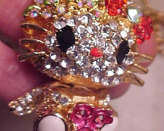 Hello Kitty? Rhinestone CAT Necklace  Runway LRG Dimesional Noticeable GORGEOUS Cat Lovers Piece Quality & Fun