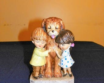 Gorham Moppets Figurine 1973 Fran Mar, Children with Dog, Mint Condition with Original Tag